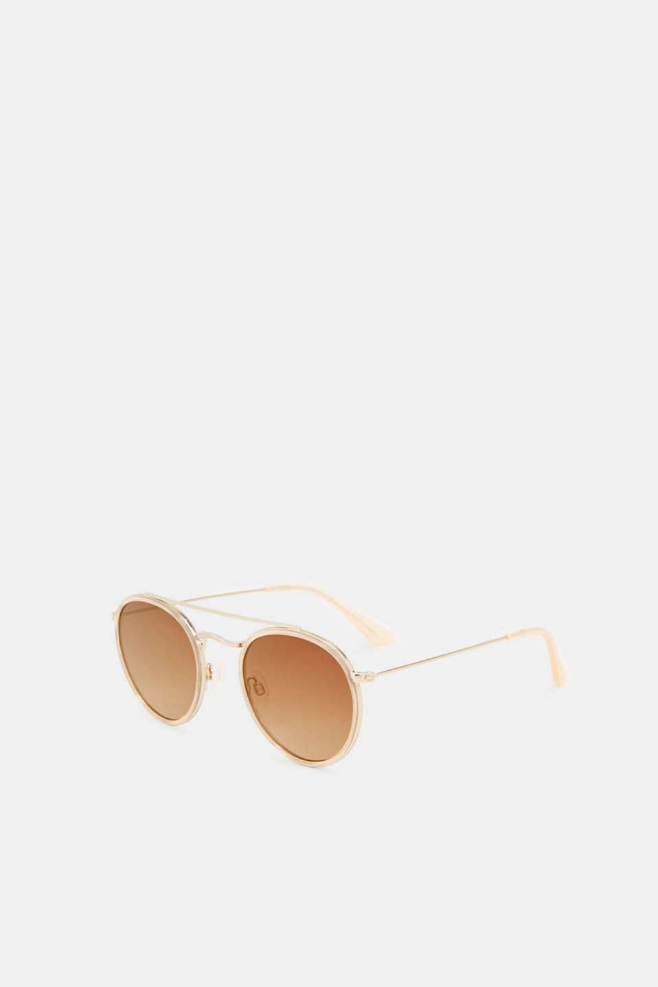 Round sunglasses with a metal frame, LCBEIGE, detail image number 3