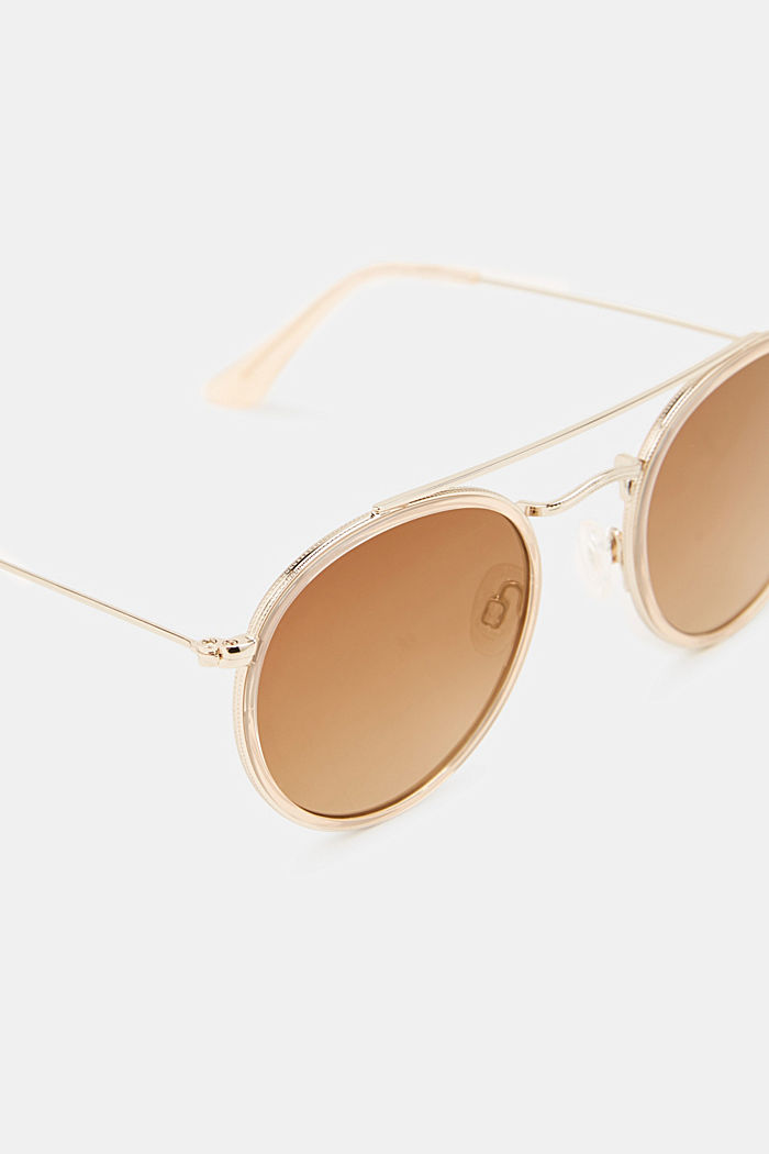Round sunglasses with a metal frame, BEIGE, detail image number 1