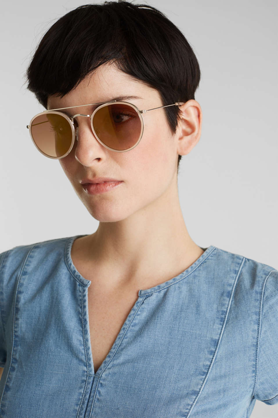 Round sunglasses with a metal frame, LCBEIGE, detail image number 2