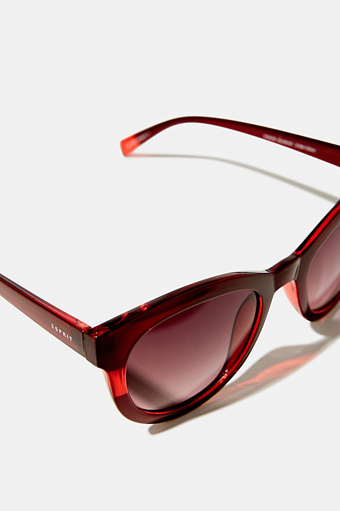 Sunglasses with a transparent stripe, RED, detail image number 1