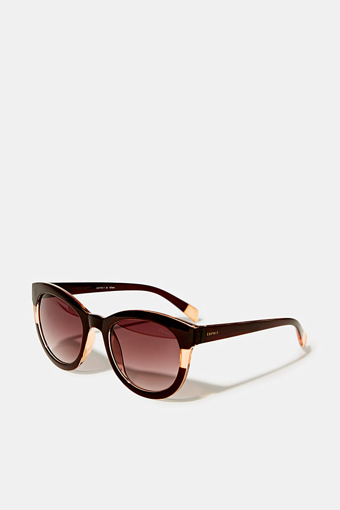 Sunglasses with a transparent stripe, BROWN, overview