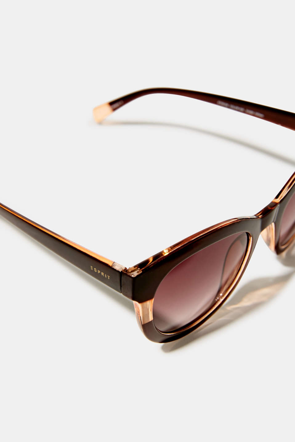Sunglasses with a transparent stripe, BROWN, detail image number 1