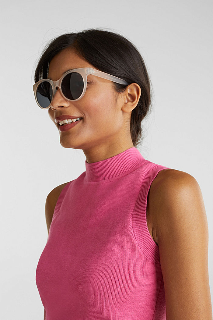 Sonnenbrille mit transparentem Rahmen, BEIGE, detail image number 2