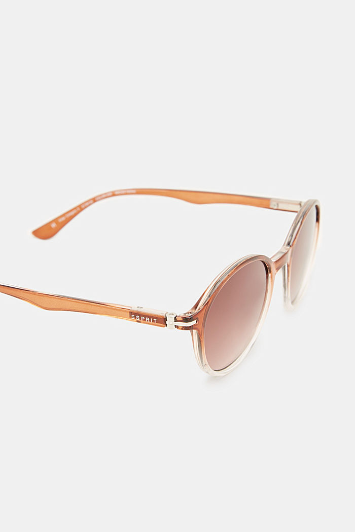 Sonnenbrille mit transparentem Rahmen, BROWN, detail image number 3