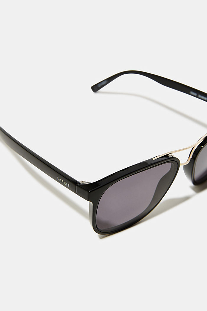 Sunglasses with a metal bridge, BLACK, detail image number 1
