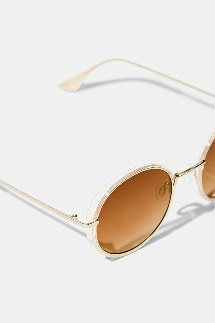 Runde Sonnenbrille im Material-Mix, BEIGE, detail image number 1