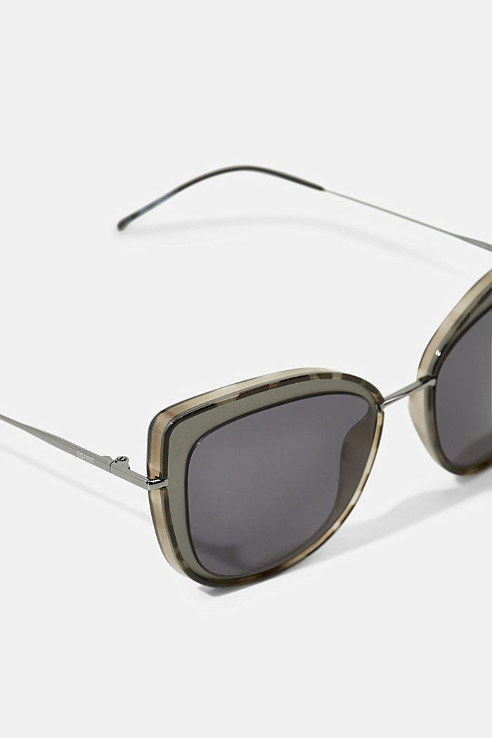 Cat-Eye Sonnenbrille mit Metallgestell, GREY, detail image number 1
