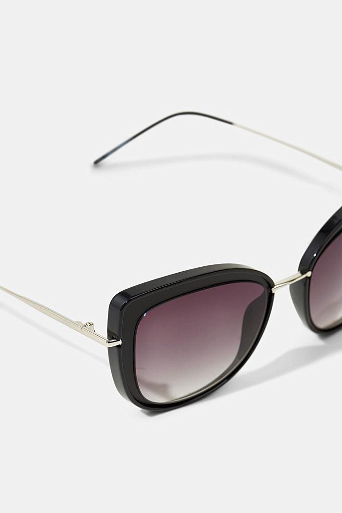 Cat-eye sunglasses with metal frames, BLACK, detail image number 1