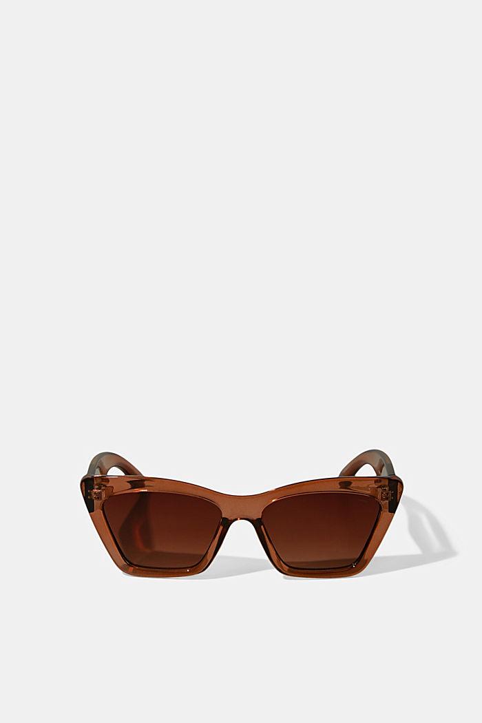 Sluneční brýle ve tvaru kočičích očí, se širokým rámečkem, BROWN, detail image number 0