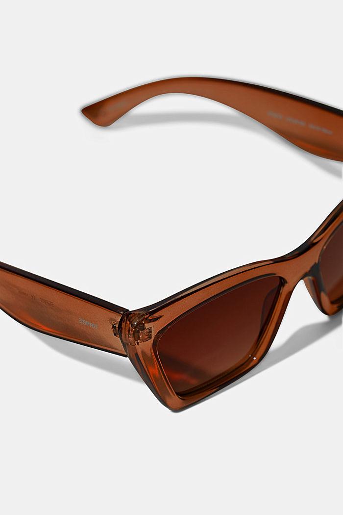 Sluneční brýle ve tvaru kočičích očí, se širokým rámečkem, BROWN, detail image number 1