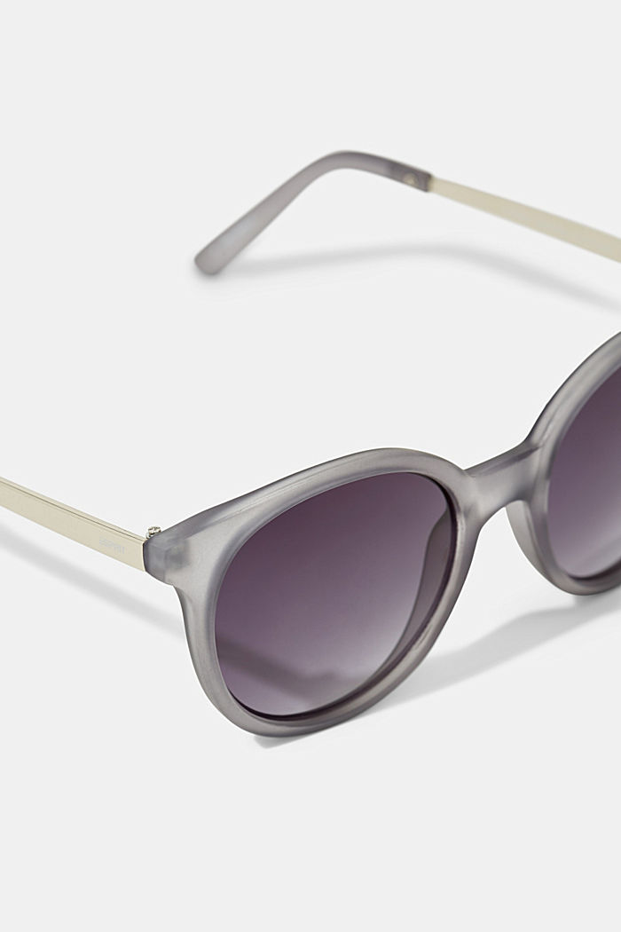 Round material-mix sunglasses, GREY, detail image number 1