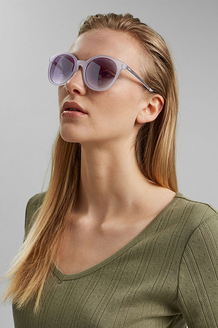 Round material-mix sunglasses, GREY, detail image number 2