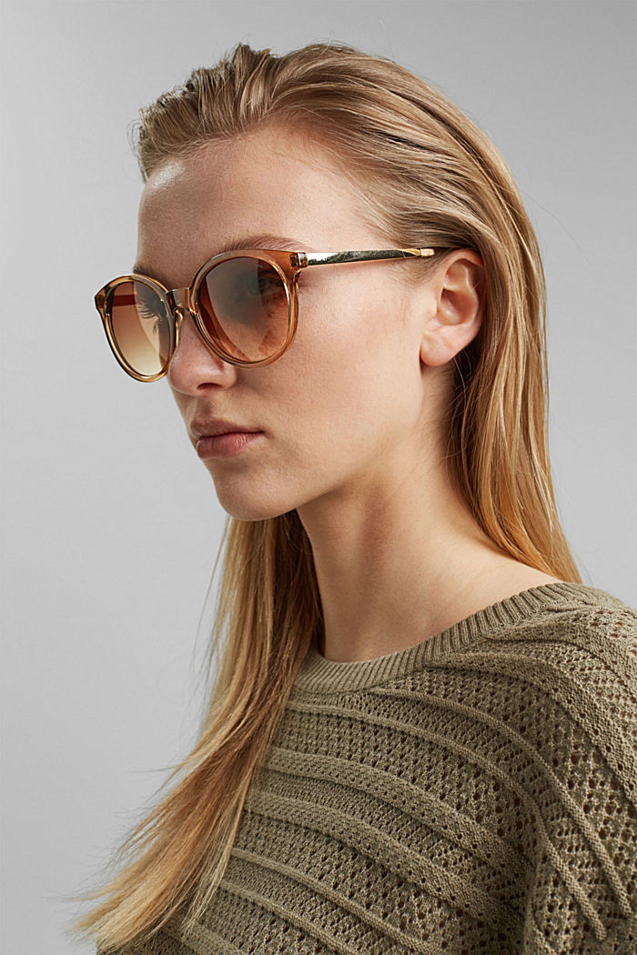 Round material-mix sunglasses, BROWN, detail image number 2