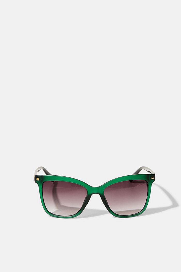 Square sunglasses with plastic frames, GREEN, detail image number 0