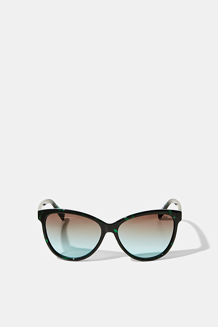 Cat-eye sunglasses in a tortoiseshell look, GREEN, detail image number 0