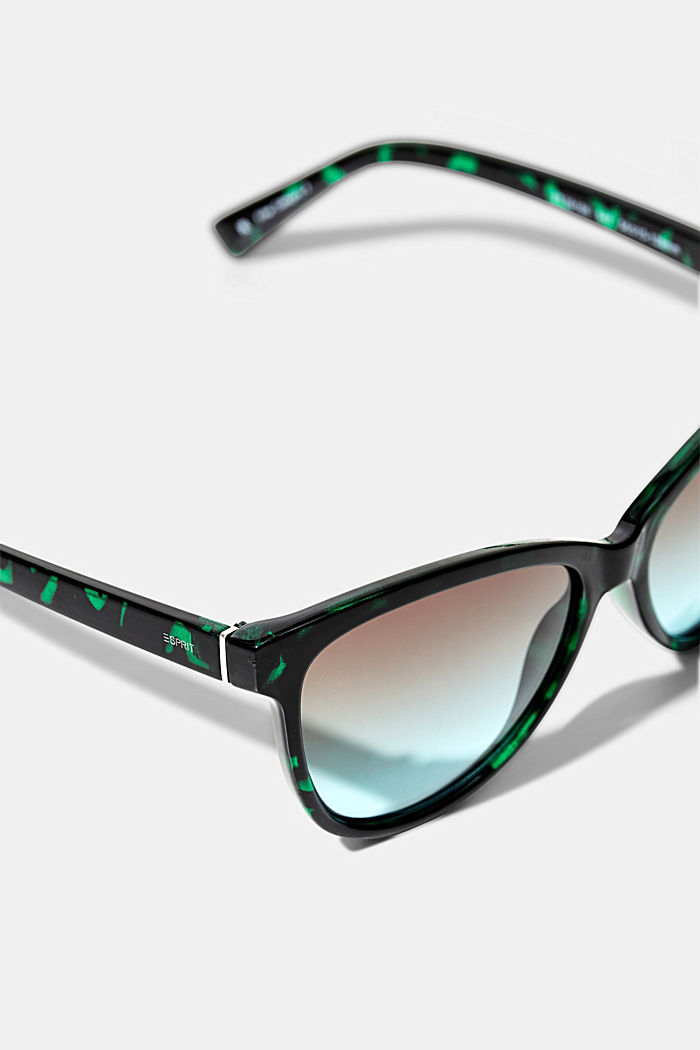 Cat-Eye Sonnenbrille in Tortoise-Optik, GREEN, detail image number 1