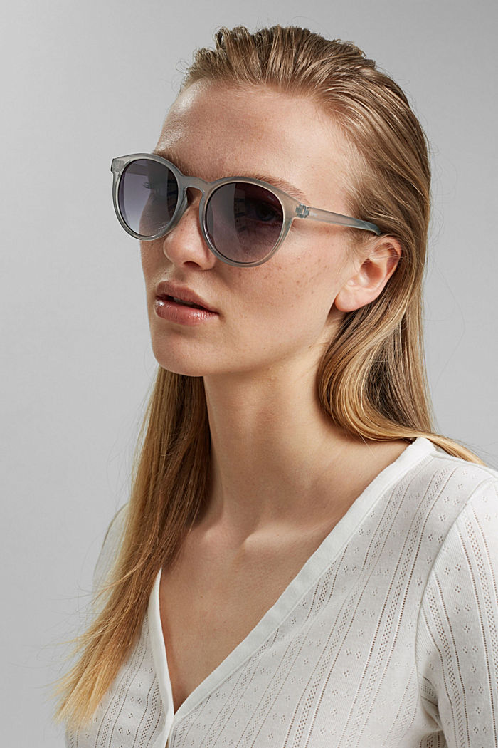 Mirrored sunglasses in a retro style, GREY, detail image number 2