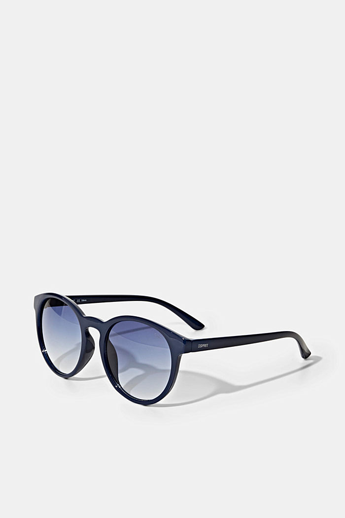 Round sunglasses in a retro style, NAVY BLUE, overview