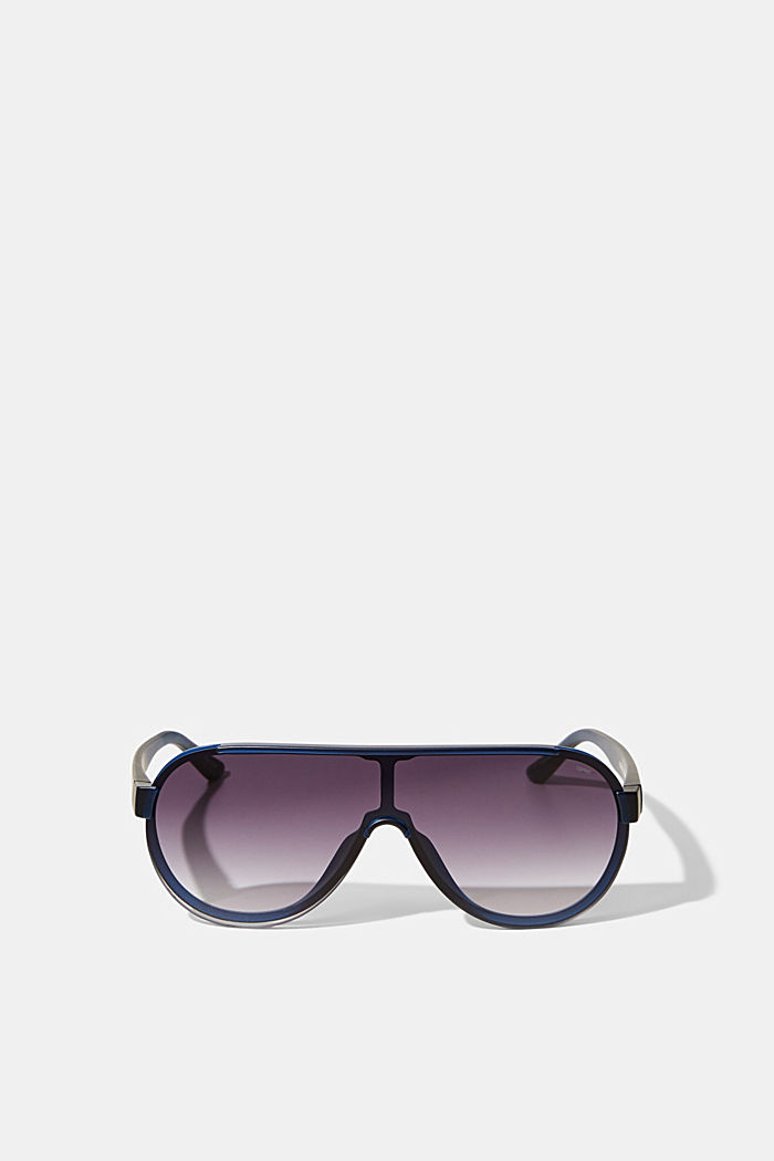 Sunglasses in a shield design, NAVY BLUE, detail image number 0
