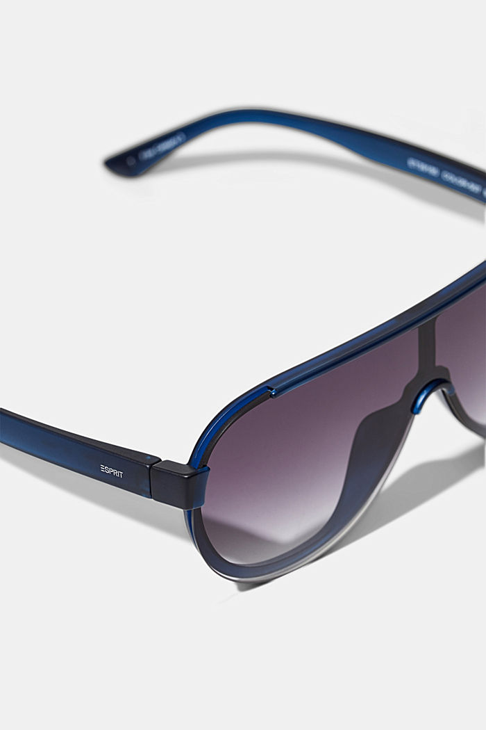 Sunglasses in a shield design, NAVY BLUE, detail image number 1