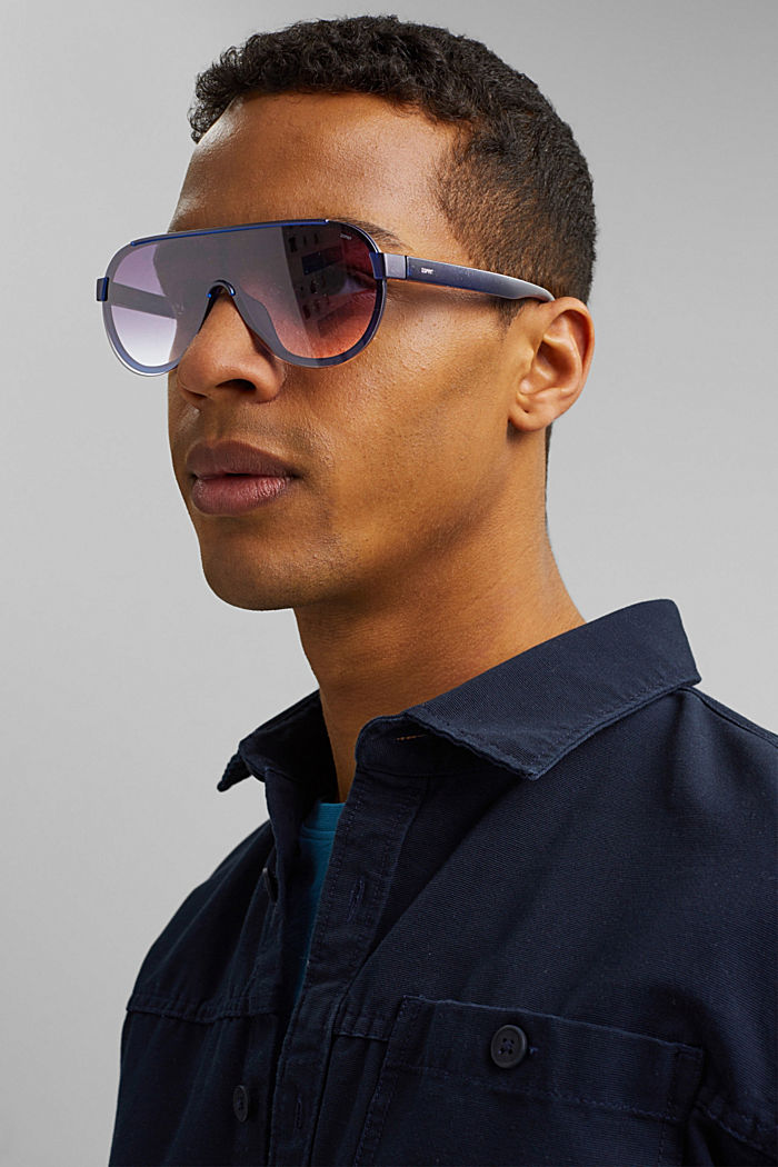 Sunglasses in a shield design, NAVY BLUE, detail image number 2