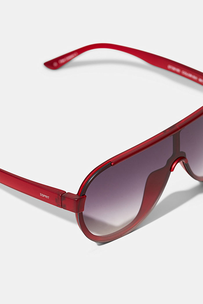Sunglasses in a shield design, RED, detail image number 1