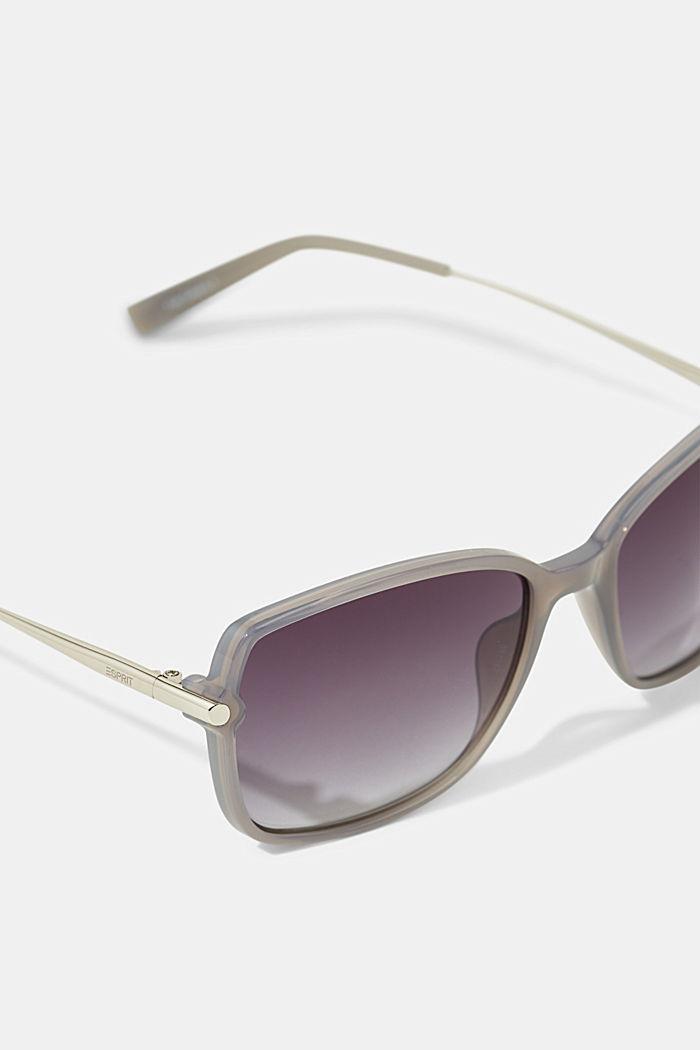 Rechteckige Sonnenbrille im Material-Mix, GREY, detail image number 1