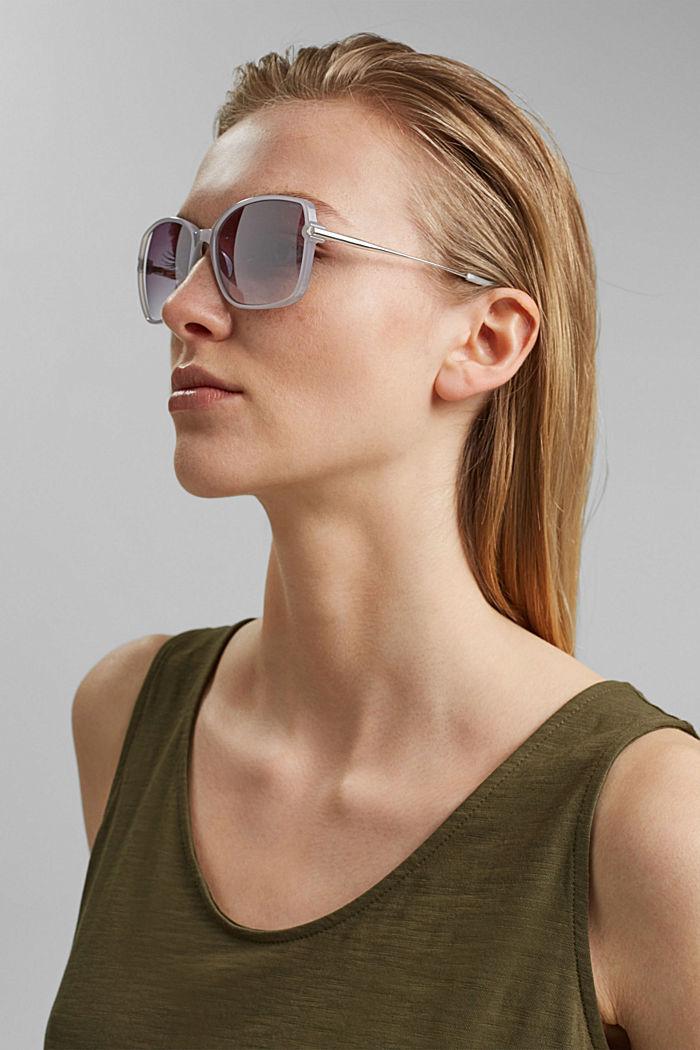 Rectangular material-mix sunglasses, GREY, detail image number 2