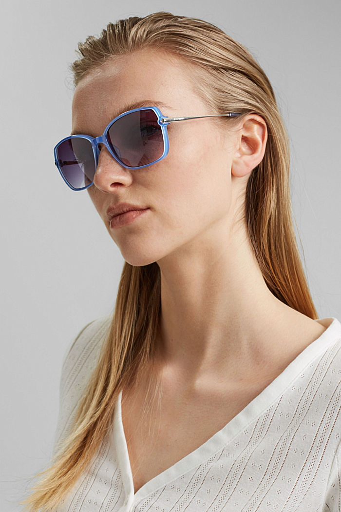 Rectangular material-mix sunglasses