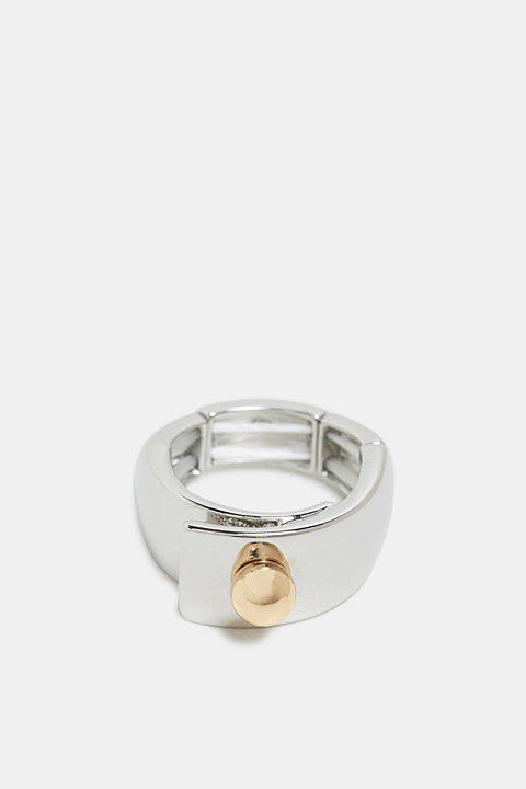 Elasticated two-tone metal ring