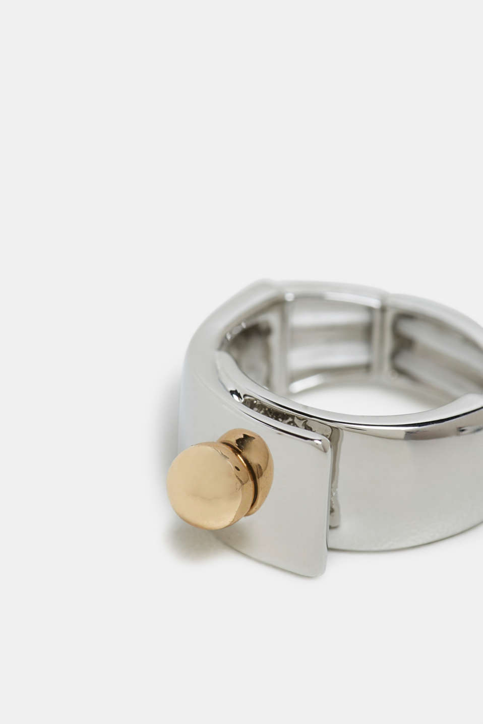 Elasticated two-tone metal ring, SILVER, detail image number 1