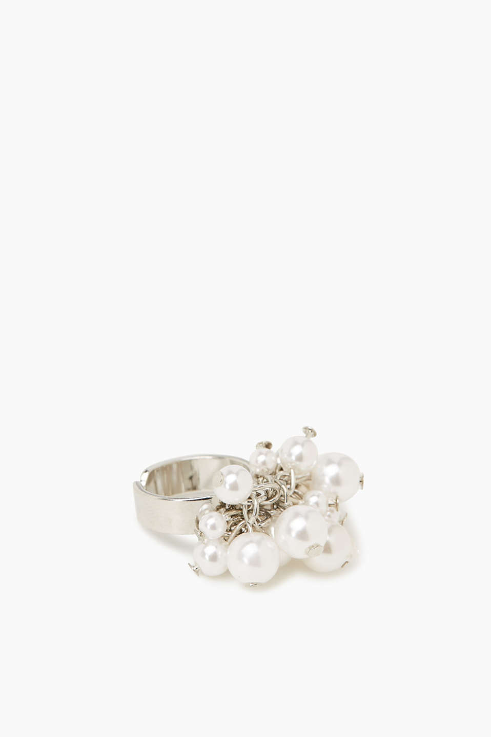 Ring with pearls and facet-cut stones