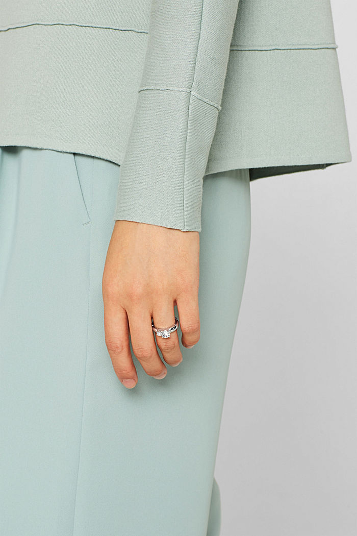 Ring with facet-cut stones, SILVER, detail image number 2