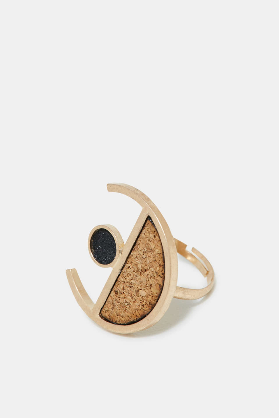Esprit - Statement ring with cork and glitter