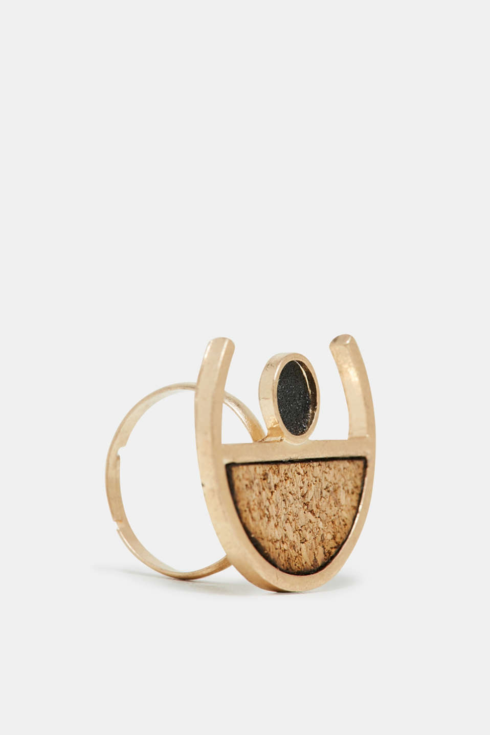 Statement ring with cork and glitter