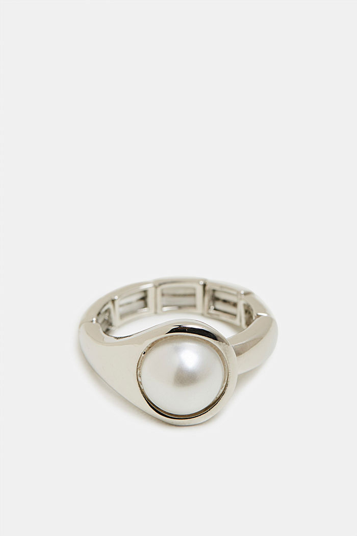 Stretchy ring with beads, SILVER, detail image number 0