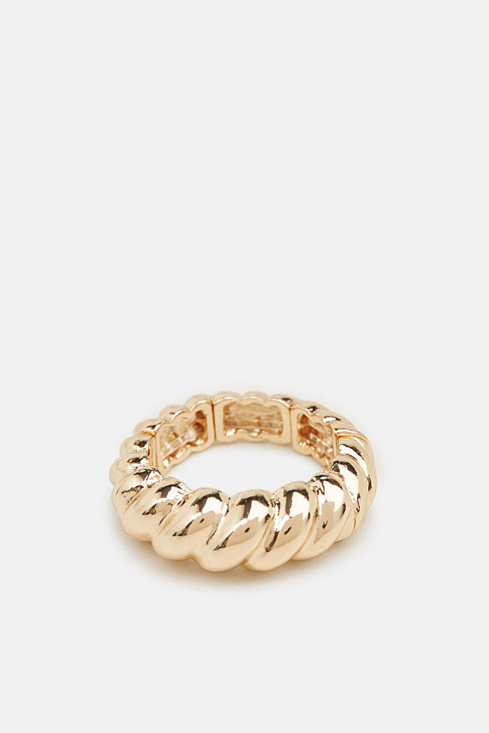 Stretchy ring with a relief texture, GOLD, detail image number 0