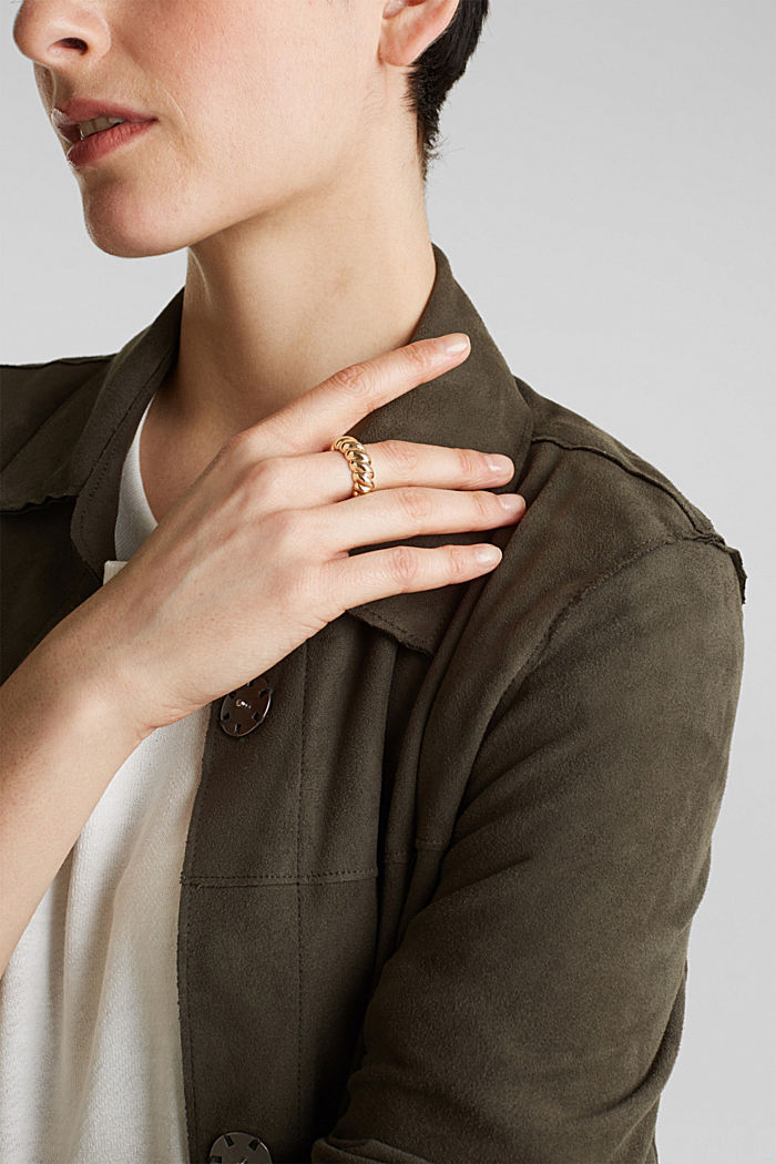 Stretchy ring with a relief texture, GOLD, detail image number 2