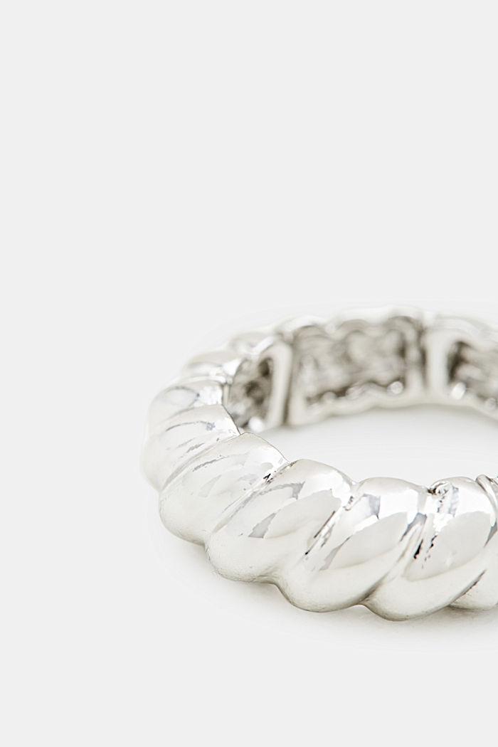 Elastische ring met reliëfstructuur, SILVER, detail image number 1