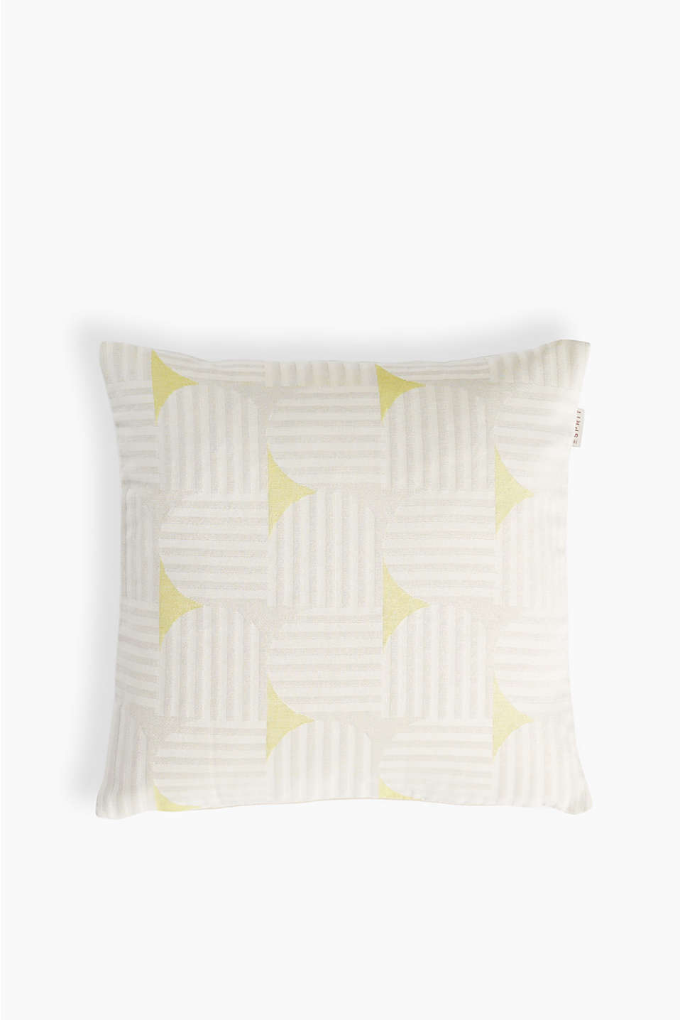 Cushion cover with an interwoven stripe pattern in a square format