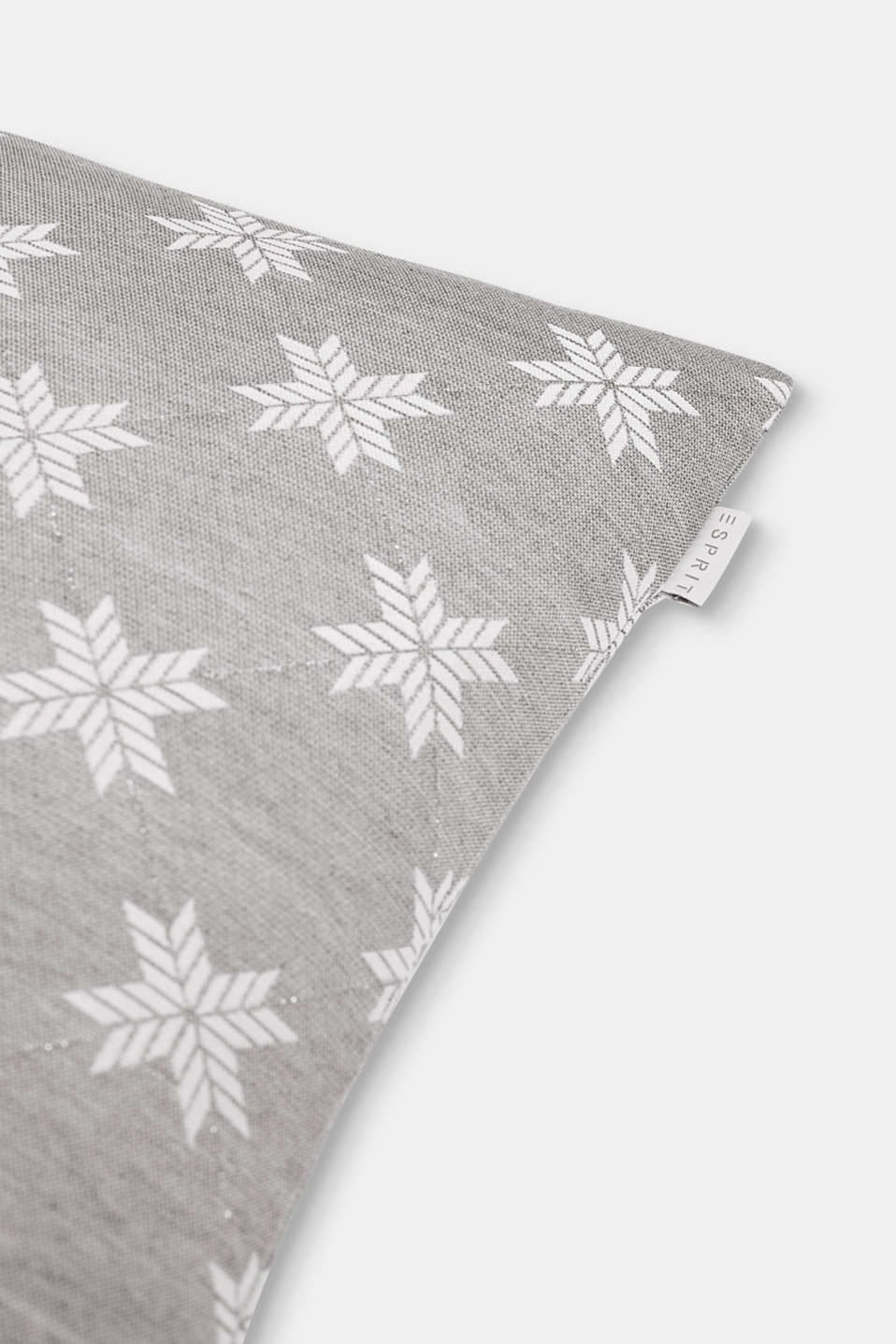 Cushion cover with a star motif, GREY, detail image number 1