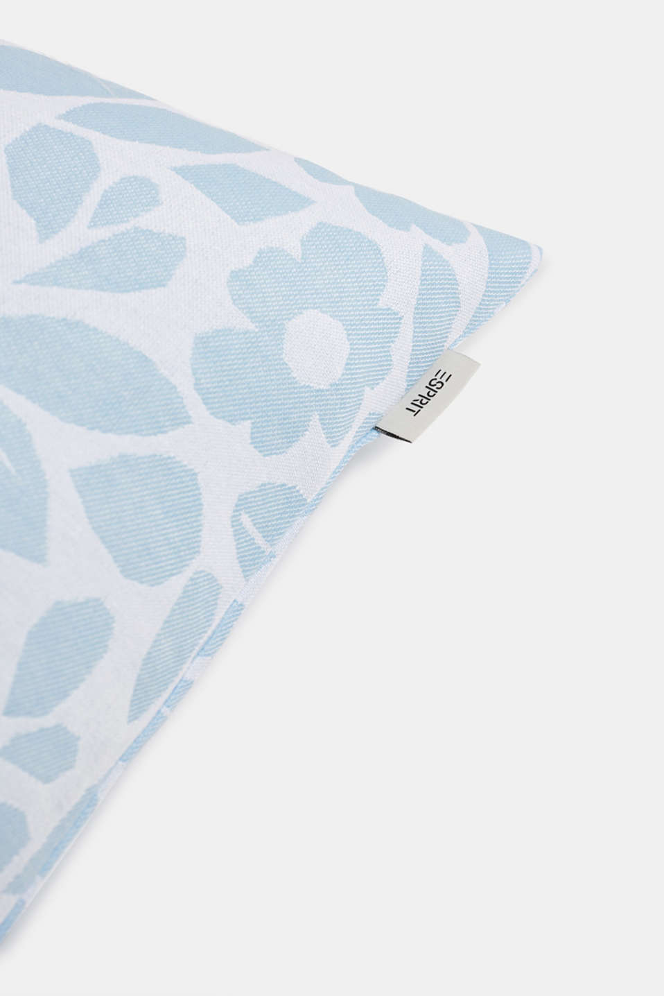 Cushion cover with a floral pattern, LIGHTBLUE, detail image number 1