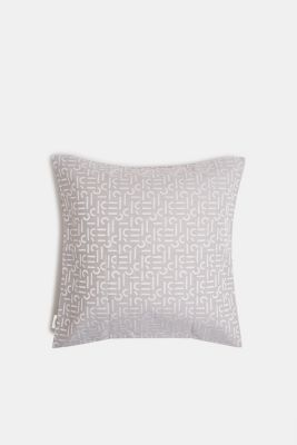 Cushion cover with a woven pattern, GREY, detail