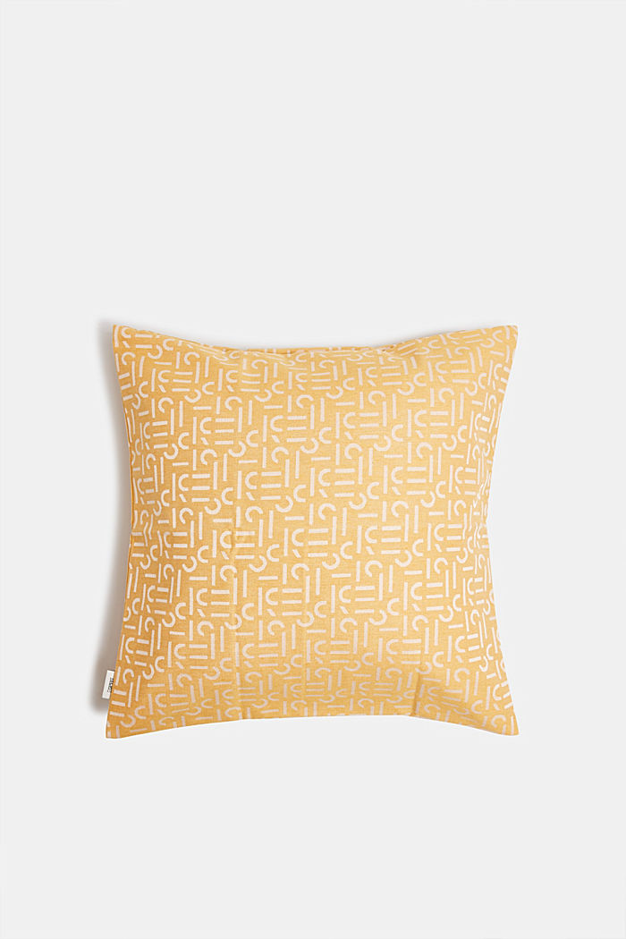 Cushion cover with a woven pattern, YELLOW, detail image number 0