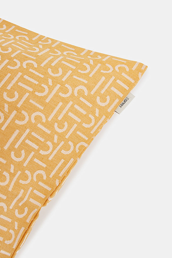 Cushion cover with a woven pattern, YELLOW, detail image number 1