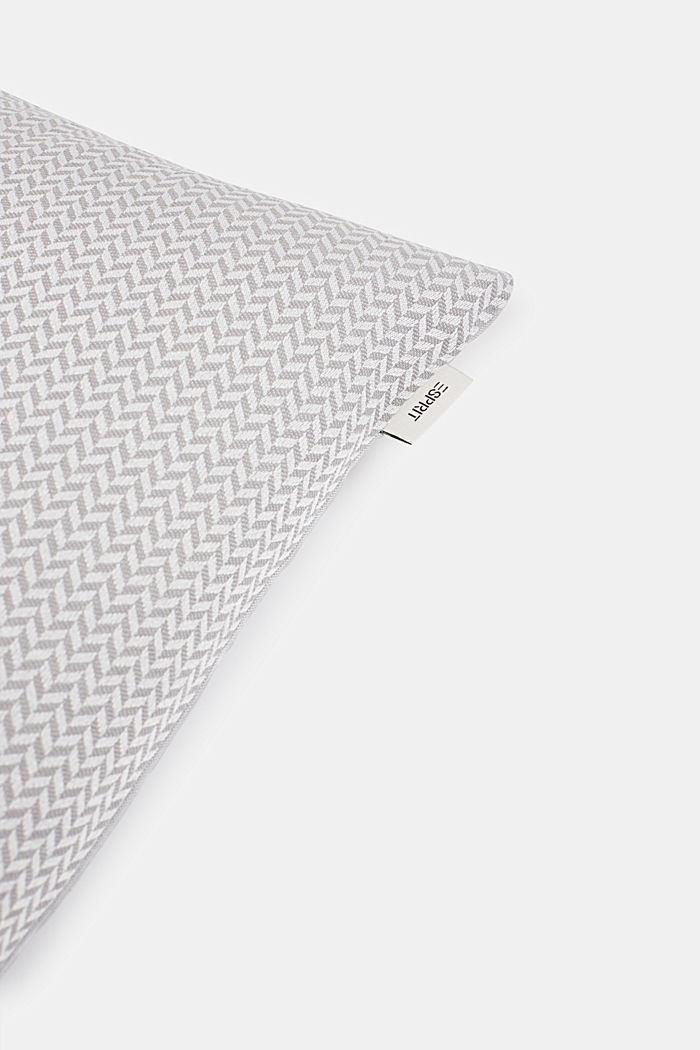 Cushion cover with a herringbone texture, GREY, detail image number 1