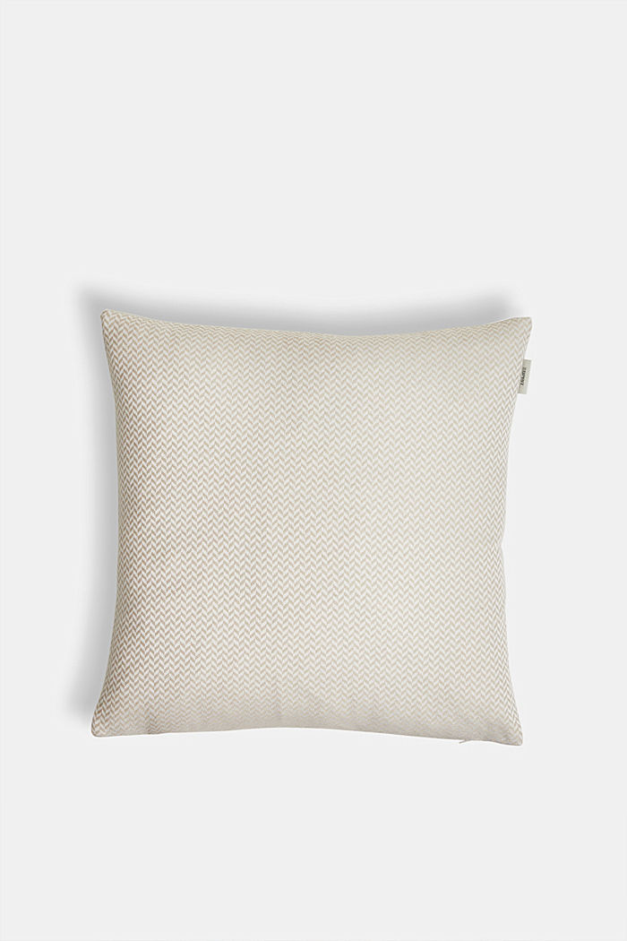 Cushion cover with a herringbone texture, NATURE, detail image number 0