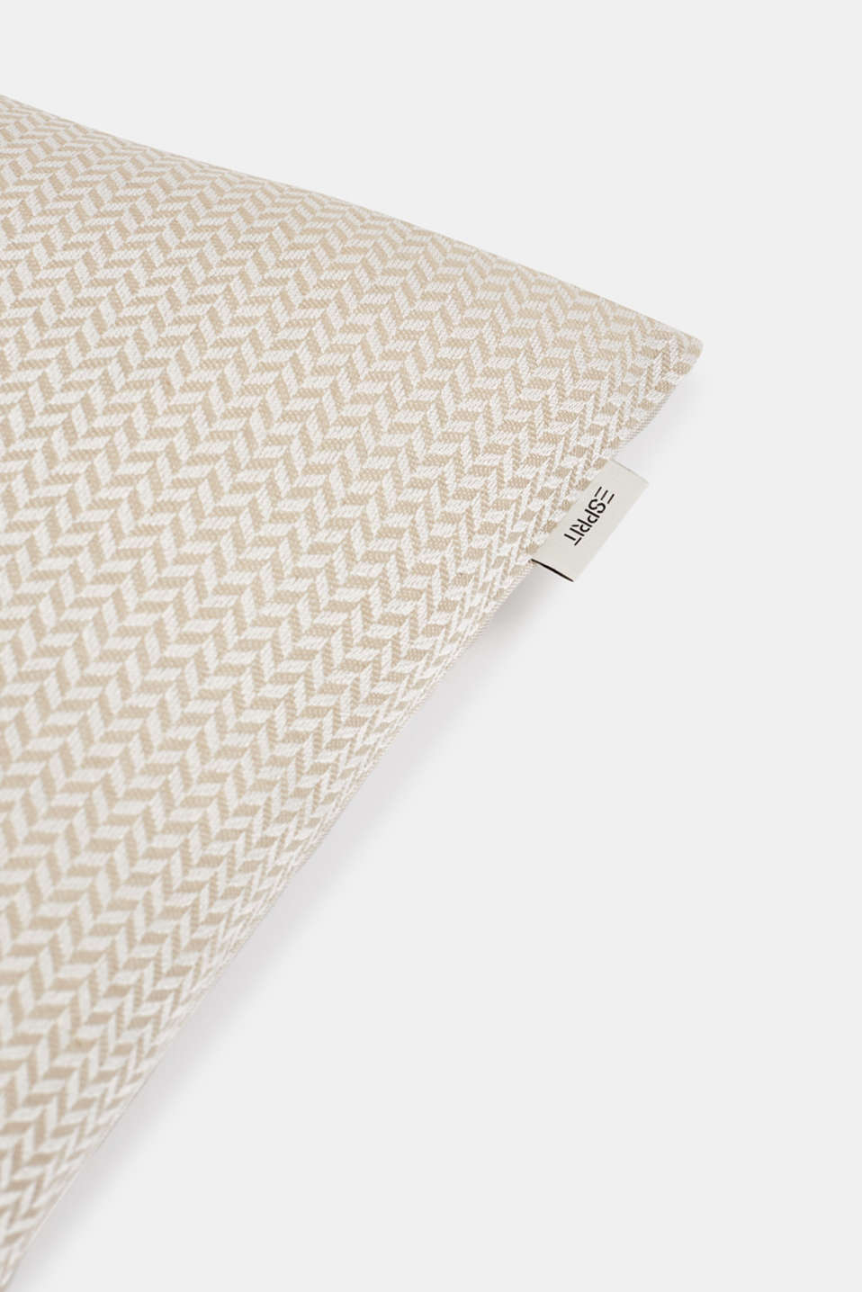 Cushion cover with a herringbone texture, NATURE, detail image number 1