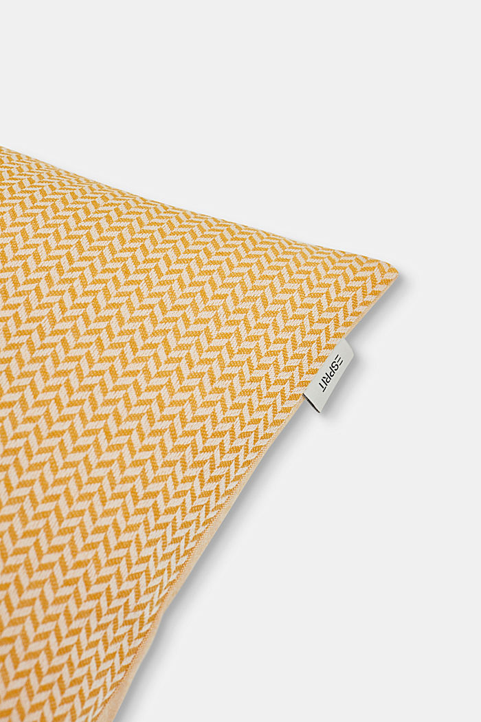 Cushion cover with a herringbone texture, YELLOW, detail image number 1