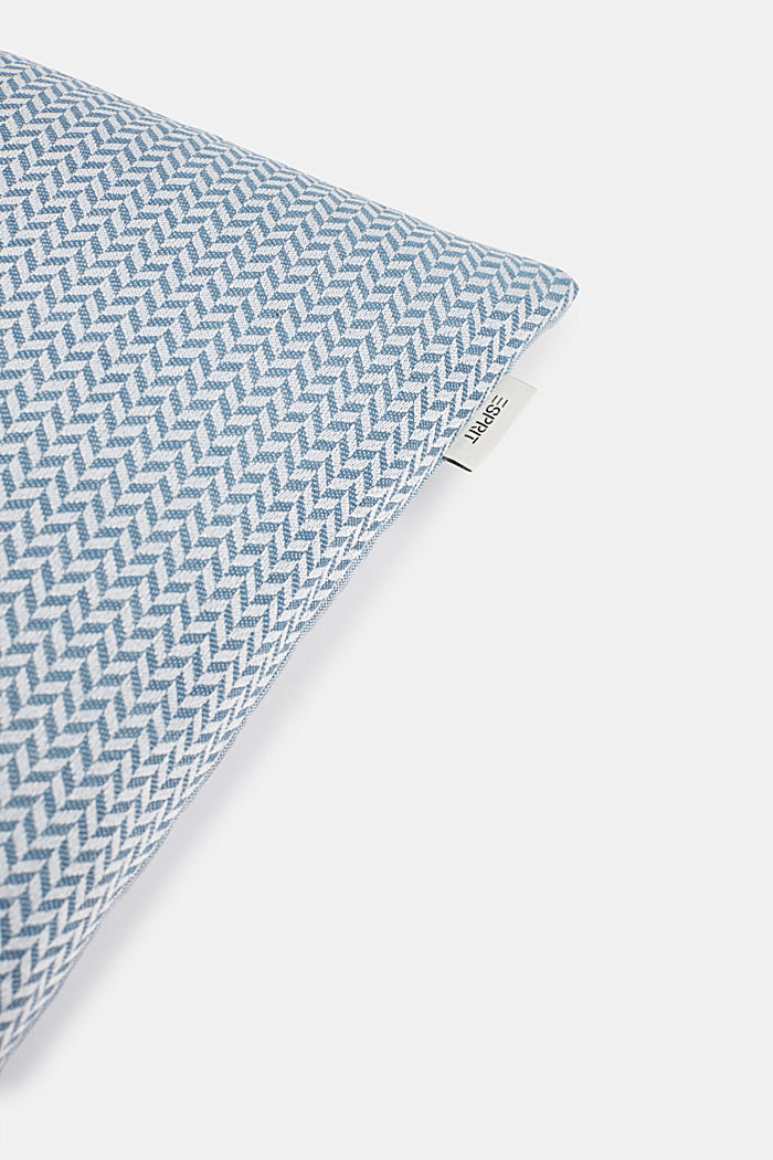 Cushion cover with a herringbone texture, AQUA, detail image number 1